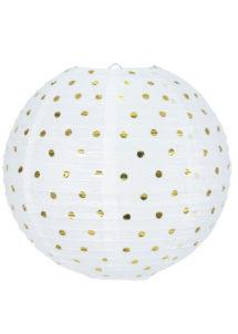 lampion, lanterne, boule japonaise, lampion papier de riz, boule japonaise, lampions, Lampion Japonais, Boule Blanche et Or