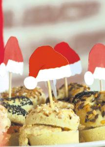 Pics a cocktail noel, pics apéros noel, décorations réveillons, décorations table noel, Pics à Apéro ou Cocktail, Bonnets de Noël