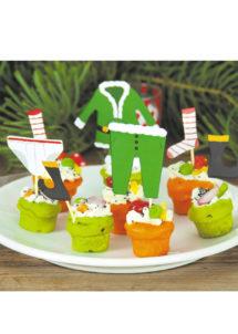 Pics a cocktail noel, pics apéros noel, décorations réveillons, décorations table noel, Pics à Apéro ou Cocktail, Les Habits de Lutins