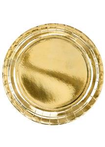 assiettes dorées, assiettes anniversaire, vaisselle jetable dorée, assiettes dorées, Vaisselle Dorée Métal, Assiettes