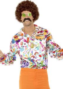 chemise hippie, déguisement hippie, chemise peace and love, chemise années 70, Déguisement Hippie, Chemise Groovy Peace