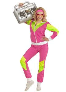 déguisement années 80 femme, déguisement survet disco, déguisement véronique et davina, déguisement années 80 femme, déguisement années jogging années 80, déguisement pour soirée années 80, Déguisement Années 80, Shell Suit Rose et Fluo, Femme