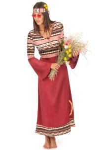 déguisement hippie femme, costume hippie femme, déguisement flower power femme, costume flower power femme, costume années 70 femme, déguisement années 70 femme, déguisement peace and love femme, costume femme hippie, Déguisement Hippie Bordeaux, Robe Longue