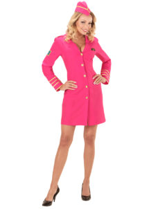 déguisement hôtesse de l'air, déguisement pilote femme, déguisement hôtesse, costume hôtesse de l'air, Déguisement d'Hôtesse de l'Air, Rose Flash Pink