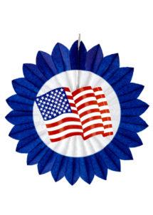 décoration américaine, décoration états unis, lampion drapeau américain, Décoration Etats Unis, Eventail Rosace 50 cm
