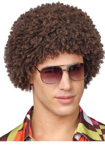 perruque disco, perruque afro châtain, perruque disco homme, Perruque Afro Courte Disco, Années 70, Châtain