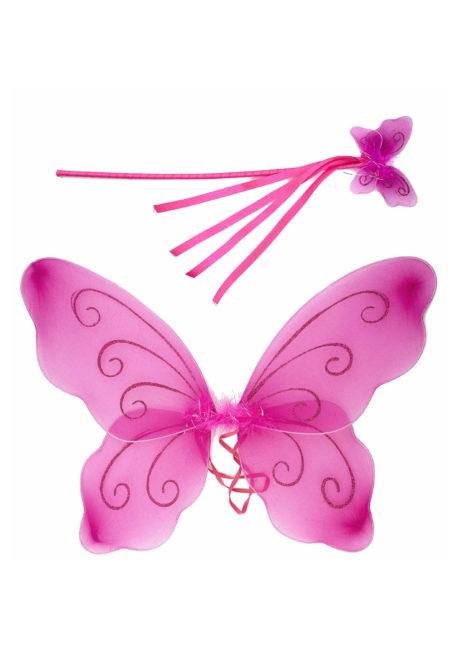 ailes de fées, ailes de papillon, Ailes de Fée Roses + Baguette, Enfants