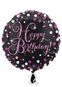 ballon hélium, ballon anniversaire, ballon aluminium, ballon happy birthday,, Ballon Anniversaire, Noir et Rose Prismatic, en Aluminium