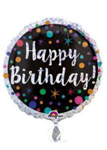 ballon hélium, ballon anniversaire, ballon aluminium, ballon happy birthday,, Ballon Anniversaire, Noir et Prismatic, en Aluminium