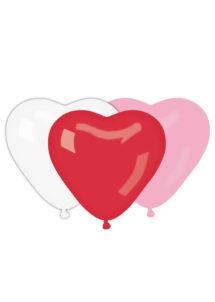 ballons coeurs, ballons hélium, ballons saint valentin, ballons à l'hélium, Ballon Coeurs Rouges, Blancs et Roses, en Latex, X 10