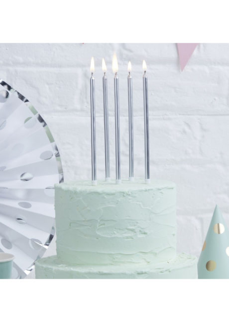 bougies anniversaire, bougies argent, bougies longues, belles bougies anniversaire, ginger ray, 24 Bougies d'Anniversaire XL, Argent