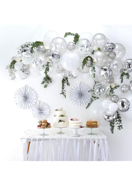 kit arche de ballons, arches pour ballons, arches de ballons, ballons décorations, ginger ray, Arche Guirlande de Ballons, Argent et Blancs