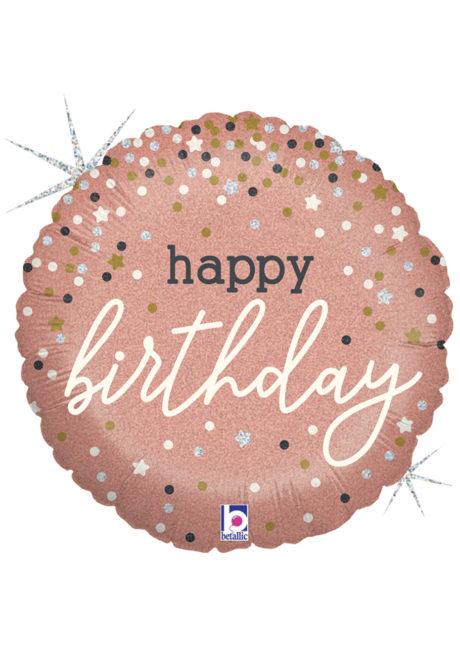 ballon hélium, ballon anniversaire, ballon aluminium, ballons hélium, Ballon Anniversaire, Confettis Rose Gold, en Aluminium