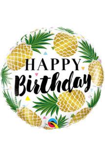 ballon hélium, ballon anniversaire, ballon aluminium, ballons hélium, Ballon Anniversaire, Ananas Dorés, en Aluminium