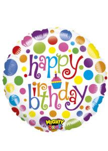 ballon hélium, ballon anniversaire, ballon aluminium, ballons hélium, Ballon Anniversaire, Happy Birthday Pois, en Aluminium