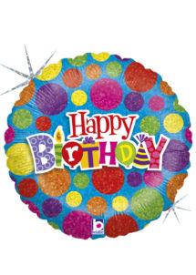 ballon hélium, ballon anniversaire, ballon aluminium, ballons hélium, Ballon Anniversaire, Pois Colorés, en Aluminium