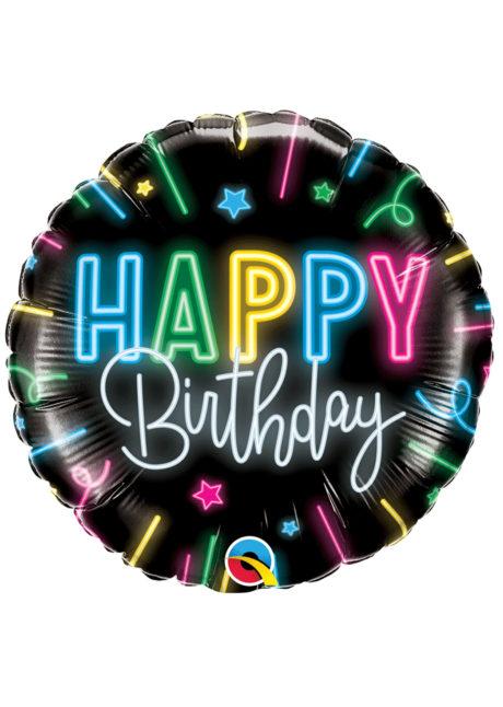 ballon hélium, ballon anniversaire, ballon aluminium, ballons hélium, Ballon Anniversaire, Black Neon, en Aluminium