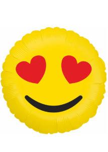 ballon hélium, ballon émoticone, ballon smiley, ballon aluminium, ballon décoration, ballon mylar, Ballon Emoji, Coeurs, en Aluminium