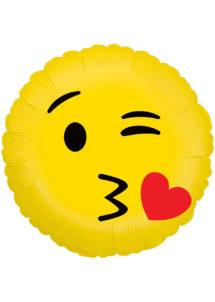 ballon hélium, ballon émoticone, ballon smiley, ballon aluminium, ballon décoration, ballon mylar, Ballon Emoji, Kiss, en Aluminium