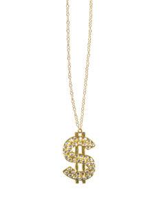 collier dollar, pendentif dollar, collier bling bling, collier dollar doré, collier dollar strass, Collier Dollar Doré, avec Strass