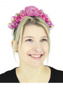 couronne de fleurs, serre tête fleurs, diadème de fleurs, Bandeau Couronne de Fleurs Roses, Frida