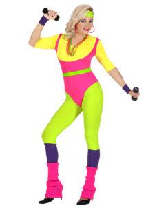 déguisement aérobic, déguisement flou, déguisement années 80 femme, déguisement justaucorps véronique et Davina, Déguisement Années 80, Aérobic Fluo