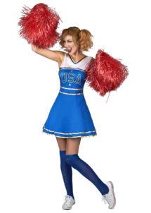 déguisement pompom girl, déguisement cheerleader, costume de pompom girl, costume de cheerleader, Déguisement Pom Pom Girl, Cheerleader Bleue