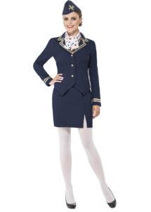 déguisement hotesse de l'air femme, costume hôtesse de l'air adulte, déguisement hôtesse de l'air adulte, déguisement métiers femme, Déguisement d'Hôtesse de l'Air, Dolly Bleue