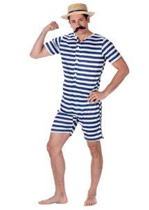 déguisement maillot de bain années 30, costume de bain années 20, déguisement costume de bain rétro, Déguisement Costume de Bain Rétro, avec Canotier
