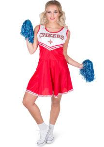 déguisement pompom girl, déguisement cheerleader, costume de pompom girl, costume de cheerleader, Déguisement Pom Pom Girl, Cheerleader Rouge, et Pompons