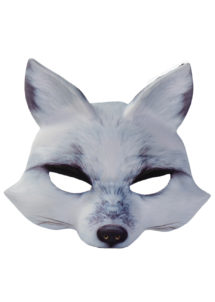 masques d'animaux, demi masques animaux, masque de renard, Masque de Renard Blanc, Demi Visage