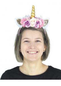 serre tête de licorne, corne de licorne, serre tête licorne et fleurs, serre tête licorne, corne licorne avec fleurs, accessoire licorne, Corne de Licorne Dorée, Fleurs et Paillettes
