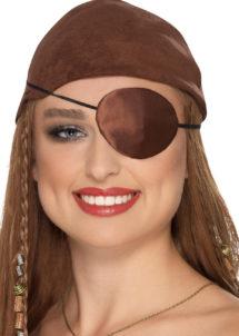 cache oeil de pirate, accessoire déguisement pirate, bandeau pirate déguisement, cache oeil déguisement pirate, accessoire déguisement, accessoire pirate, Cache Oeil de Pirate, Satin Marron