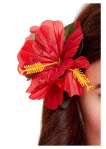 fleurs cheveux, fleur hawai cheveux, Barrette Fleurs Hibiscus Rouge