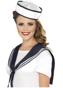 accessoire déguisement de marin, accessoire marin déguisement, kit de marin, chapeau de marin, col de marin déguisement, Kit de Marin, Bob Bordé de Bleu + Col