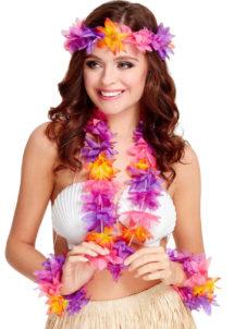 collier de fleurs, collier hawaïen, collier hawai, collier Hawaï, bracelet Hawaï, couronne de fleurs hawaï, ensemble hawaï, kit d'accessoires hawaï, Collier, Bracelets et Couronne, Hawaïens