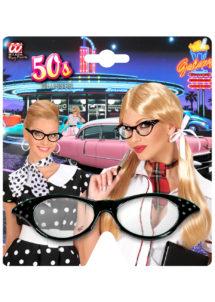 lunettes années 50, lunettes années 60, lunettes blanches, lunettes déguisements, Lunettes Années 50 avec Strass, Noires