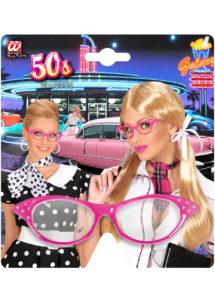 lunettes années 50, lunettes années 60, lunettes blanches, lunettes déguisements, Lunettes Années 50 avec Strass, Roses