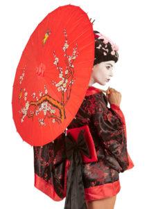 ombrelle papier de riz, ombrelle chinoise, ombrelle japonaise, ombrelle déguisement, accessoire déguisement asiatique, accessoire geisha déguisement, accessoire déguisement chinoise, Ombrelle Japonaise en Papier de riz, Rouge