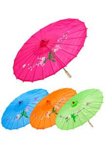 ombrelle chinoise, ombrelle japonaise, ombrelle déguisement, accessoire déguisement asiatique, accessoire geisha déguisement, accessoire déguisement chinoise, Ombrelle Japonaise en Tissu, 4 Coloris
