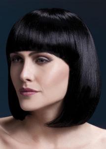 perruque noire haute qualité, perruque luxe noire, perruque haut de gamme, perruque carré noir, Perruque Elise, Noire, Lavable et Stylisable