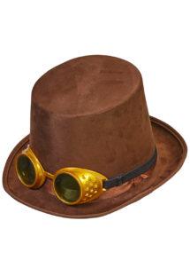 chapeau steampunk, accessoire steampunk, chapeau haut de forme, lunettes steampunk, Chapeau Steampunk Marron, Lunettes Amovibles