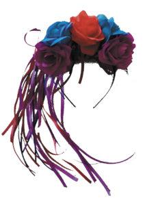 bandeau à fleurs, accessoire jour des morts halloween, couronne fleurs jour des morts déguisement, serre tête jour des morts déguisement, accessoire halloween, déguisement halloween jour des morts femme, Bandeau à Fleurs et Rubans, Jour des Morts