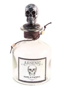 bouteille arsenic halloween, décorations halloween, flacon halloween, flacon décorations horreur, Bouteille Flacon Arsenic en Verre, Bouchon Tete de Mort