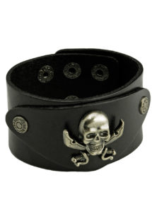 bracelet tete de mort, bracelet rock, bracelet punk, bracelet pirate, bijoux halloween, Bracelet Simili, Tête de Mort