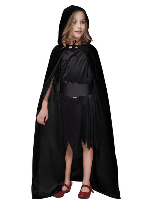 cape enfant, cape noire capuche enfant, cape halloween enfant, cape noire velours enfant, cape pour enfant, Cape Noire à Capuche, Velours, Enfant