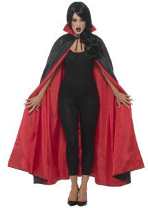 cape réversible halloween, cape noire et rouge, cape rouge et noire, Cape Noire et Rouge, Réversible, avec Col