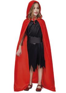 cape halloween enfant, cape de diable enfant, cape rouge à capuche enfant, capes d'halloween, cape de vampire, Cape Rouge à Capuche, Velours, Enfant