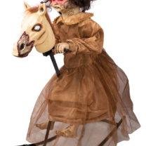 décoration halloween cheval à bascule, décoration film d'horreur, décorations halloween manège hanté