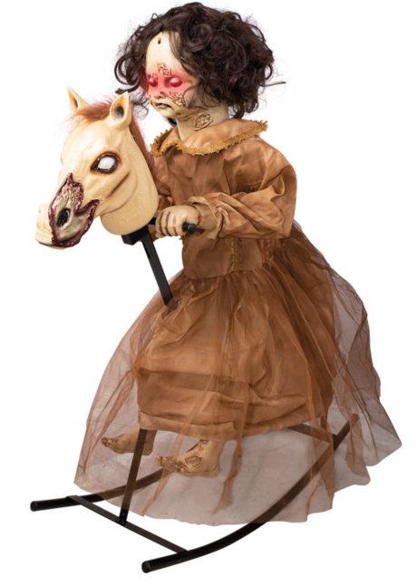décoration halloween cheval à bascule, décoration film d'horreur, décorations halloween manège hanté, Décoration Halloween, Cheval à Bascule, Animé, Sonore, Lumineux